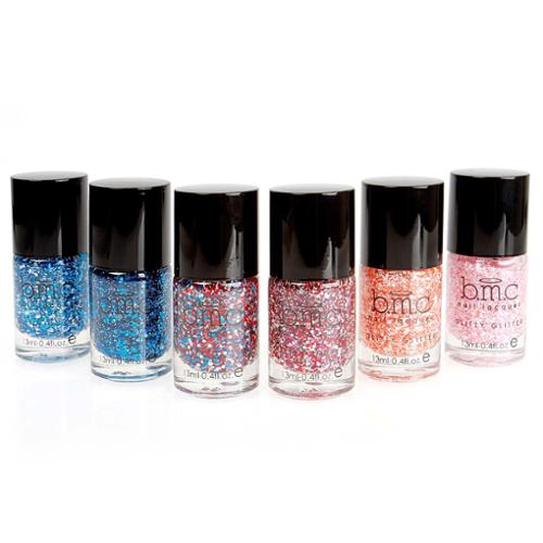 BMC 6pc Multicolor Mix Shapes Finger Nail Art Glitter Polish Collection-Set 1
