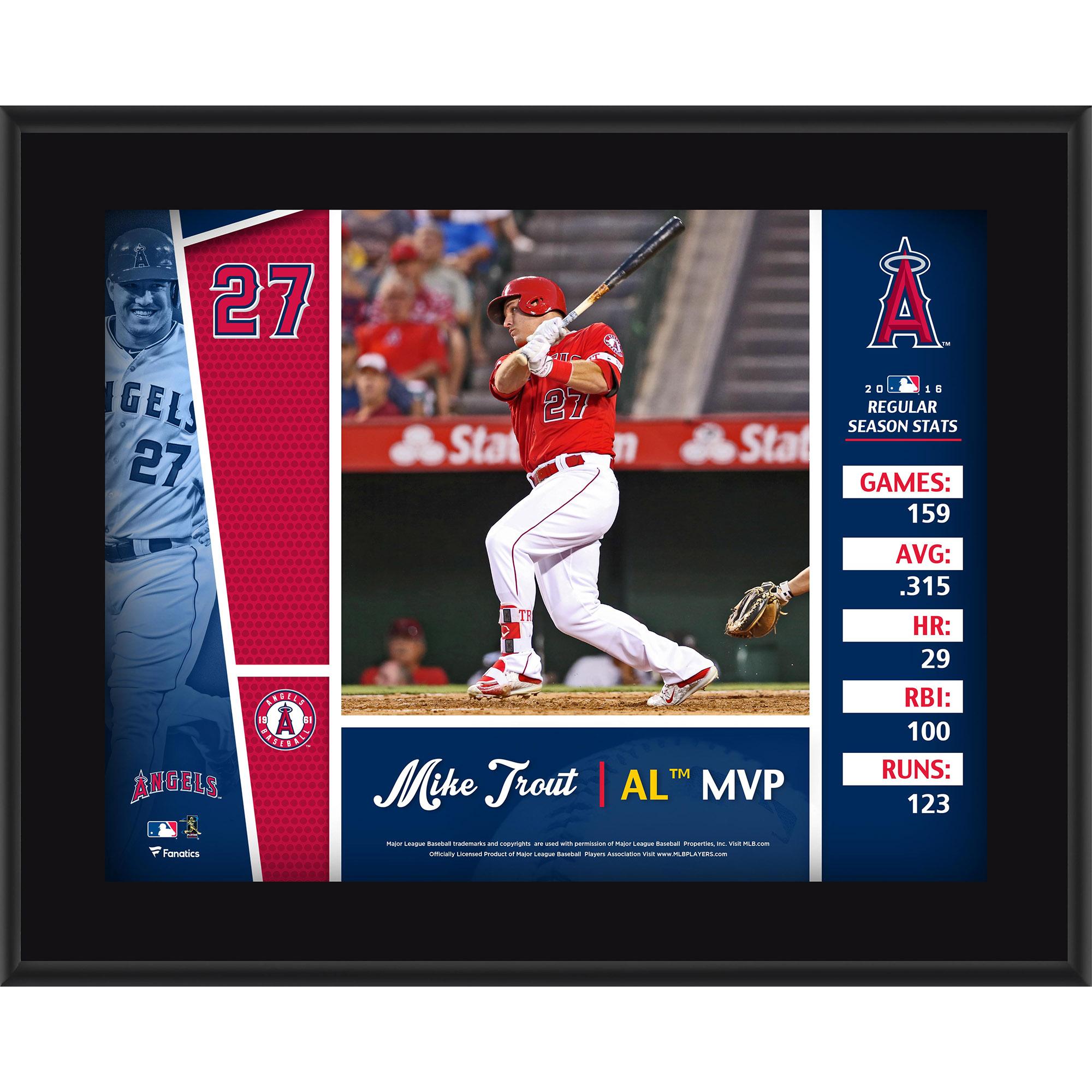 """Mike Trout Los Angeles Angels Fanatics Authentic 10.5"""" x 13"""" 2016 American League MVP Sublimated Plaque - No Size"""