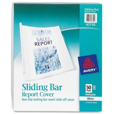 Avery Sliding Bar Report Covers, 50 Covers, Clear (47710)
