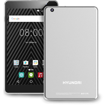 "Hyundai Koral 8W2 8"" Tablet, 2GB Ram, 16GB Storage, Quad Core, WiFi, Dual Cameras, Metal Case, Android 9.0, Silver"