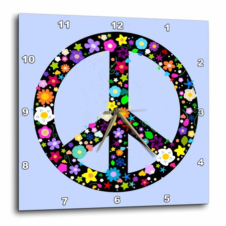 3Drose Floral Peace Symbol   Flowery Hippy Or Hippie Sign   Flower Power   Colorful Flowers   On Blue  Wall Clock  10 By 10 Inch