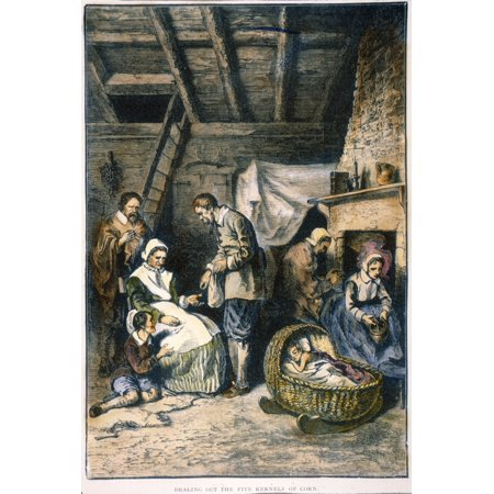 Pilgrims Starving Ndealing Out The Daily Five Kernels Of Corn Per Person During The Starving Time In The Plymouth Colony Of Massachusetts Spring 1623 Wood Engraving 19Th Century Rolled Canvas Art