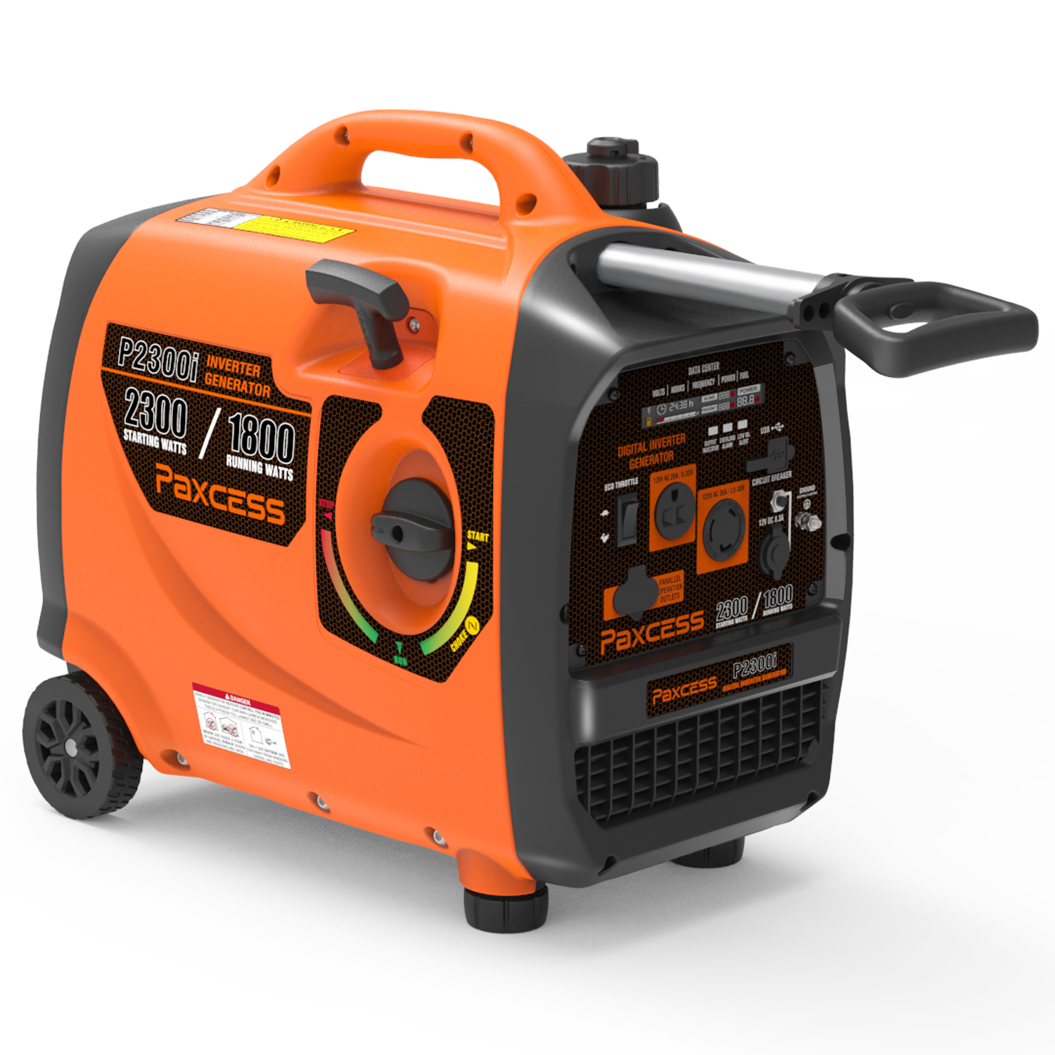 Paxcess 2300 Watts Portable Generator CARB Complaint Inverter Generator With Wheel and Handle RV /Parallel Ready Generator For HOME, Camping, Travel, Emergency.