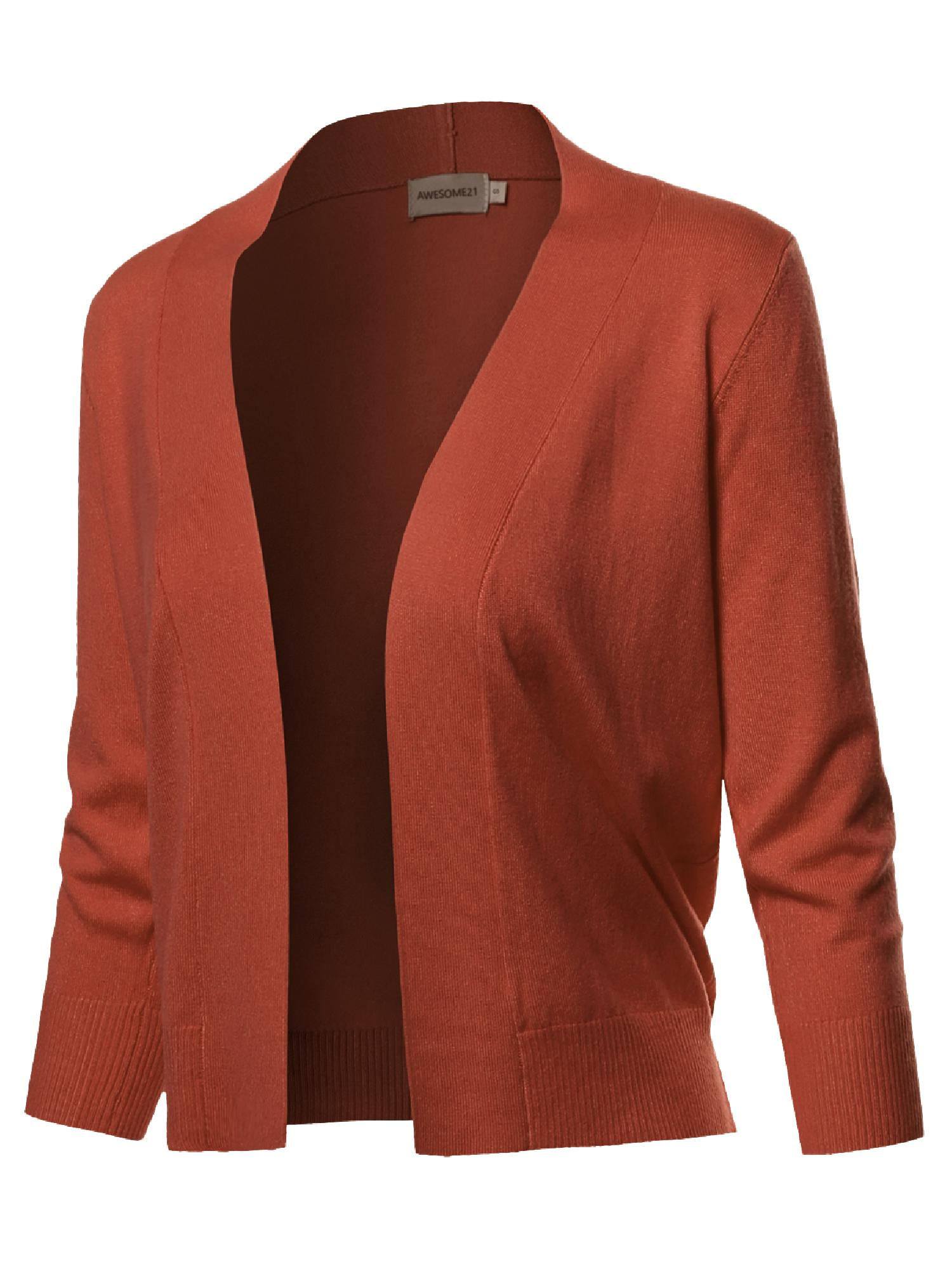 FashionOutfit Women's Solid Soft Stretch 3/4 Sleeve Layer Short Cardigan