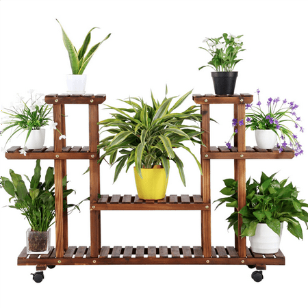 Outdoor Shelf Stand (Topeakmart 4-Layer Wooden Flower/Plant Stand Display Shelf Storage Rack Patio Yard Outdoor Indoor w/ Wheels )
