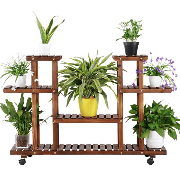 Topeakmart 4-Layer Wooden Flower/Plant Stand Display Shelf Storage Rack Patio Yard Outdoor Indoor w/ Wheels
