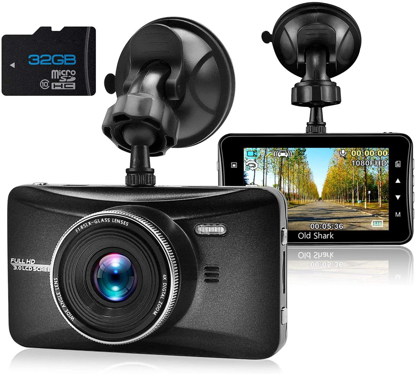 Motion Detection 170/° Wide Angle Car Dash Cam 1080P Full HD Dash Camera for Cars Recorder Include 16GB Micro SD Card G-Sensor Loop Recording,OBD Port Clear Night Vision Parking Monitoring