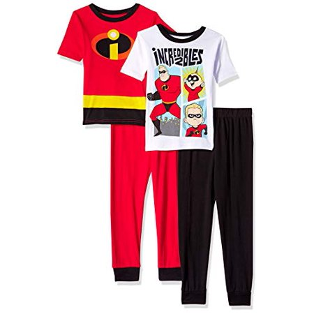 Pixar Boys' Big Incredibles 4-Piece Cotton Pajama Set, Too Incredible, 10 - Glow In The Dark Pajamas