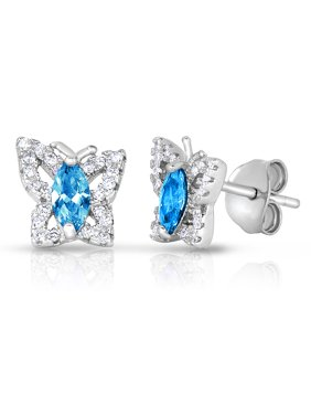 .925 Sterling Silver Simulated Birthstone Cubic Zirconia Butterfly Stud Earrings for Girls (December)
