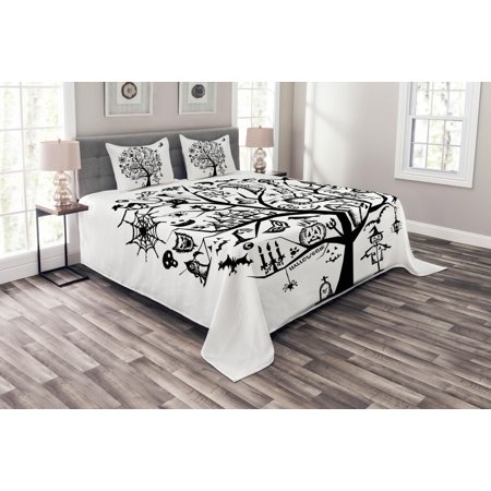 Halloween Bedspread Set, Sketchy Spooky Tree with Spooky Design Objects and Wicked Witch Broom Abstract, Decorative Quilted Coverlet Set with Pillow Shams Included, Black White, by Ambesonne (Being Black And White For Halloween)