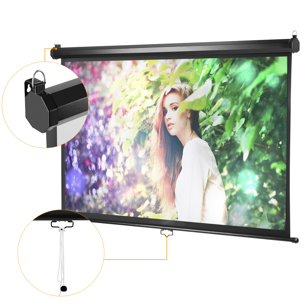 "100/"" Projector Screen 100 inch Diagonal 16:9 Projection HD Manual Pull Down Hom"