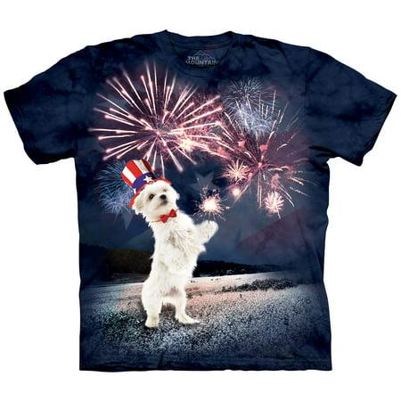 The Mountain Fireworks Puppy Adult Short Sleeve T-Shirt (Medium) ()