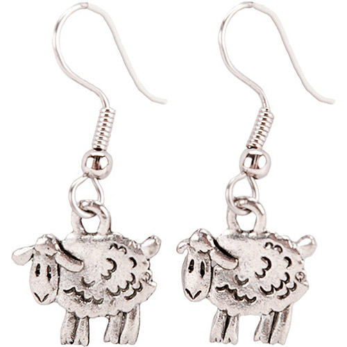 Cedar Creek Quilt Designs Charming Accents French Wire Earrings, Sheep
