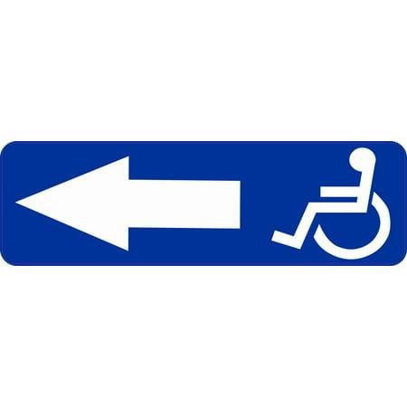 Arrow Fixed Wheel - 10inx3in Left Arrow Wheelchair Access Sticker Vinyl Business Handicap Sign
