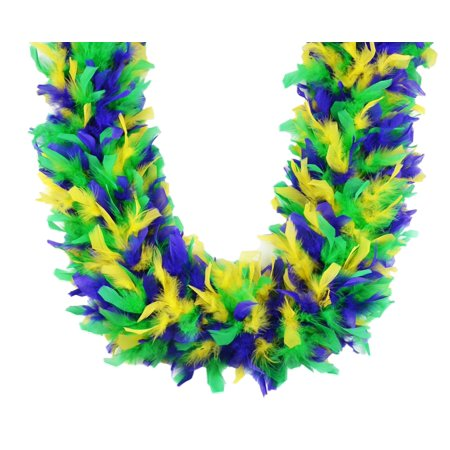 Heavyweight Chandelle Feather Boa Mardi Gras Mix 120 gm 72 in 6 Ft - Mardi Gras Feather Boas