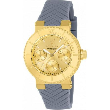 Invicta Womens Gabrielle Union Grey Silicone Band Steel Case Quartz Gold Tone Dial Analog Watch 22954