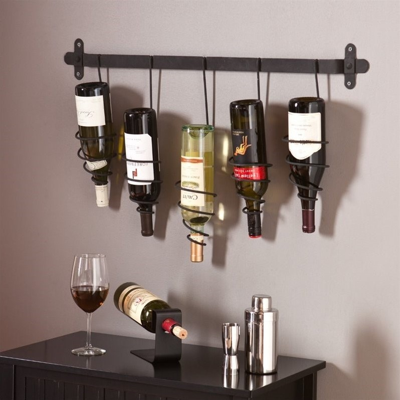 Southern Enterprises Almeria Wall Mount Wine Rack in Wrought Iron by Southern Enterprises