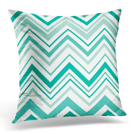 CMFUN Blue Abstract Chevron Pattern Design with Teal Color Green Celebration Throw Pillow Case Pillow Cover Sofa Home Decor 16x16 Inches ()