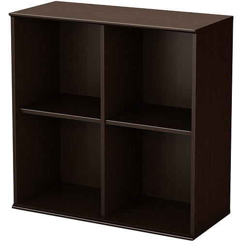 South Shore Store It Collection 4-Cubby Storage Shelves, Chocolate