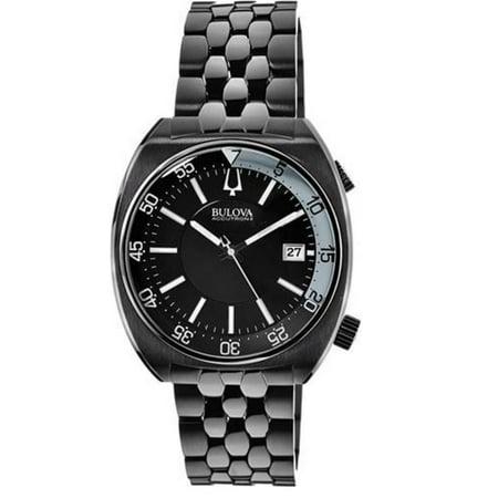 Accutron Black Bracelet - Bulova Accutron II 98B219 Black Dial Black Ion-Plated Stainless Steel Men's Watch