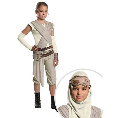 Star Wars Episode VII: The Force Awakens - Rey Deluxe Costume for Girls and Childrens Rey Mask and Hood - Masquerade Dress