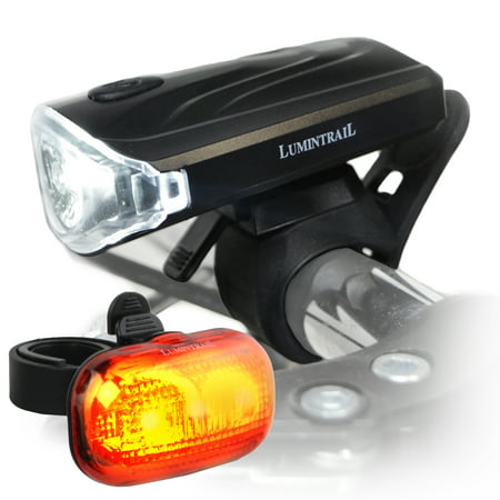 Lumintrail Bright LED Commuter Safety Bike Light Set Headlight Taillight Easy Install and Quick Release AAA Batteries
