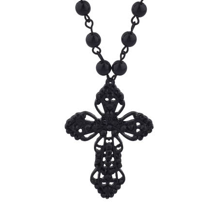 Lux Accessories Classic 80s Gothic Black Rosary Cross Beaded Pendant Necklace