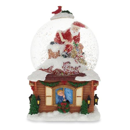 Santa on the Chimney with Christmas Gifts Musical Snow Globe ()