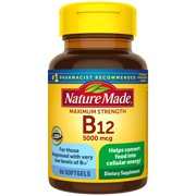 Nature Made Maximum Strength Vitamin B12 5000 mcg Softgels, 60 Count for Metabolic Health