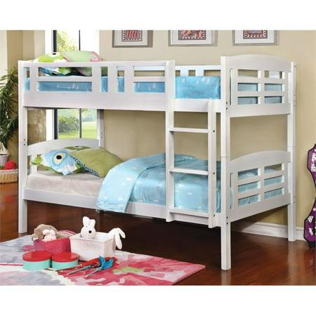 Furniture Of America Golnessa Twin Over Twin Bunk Bed In White
