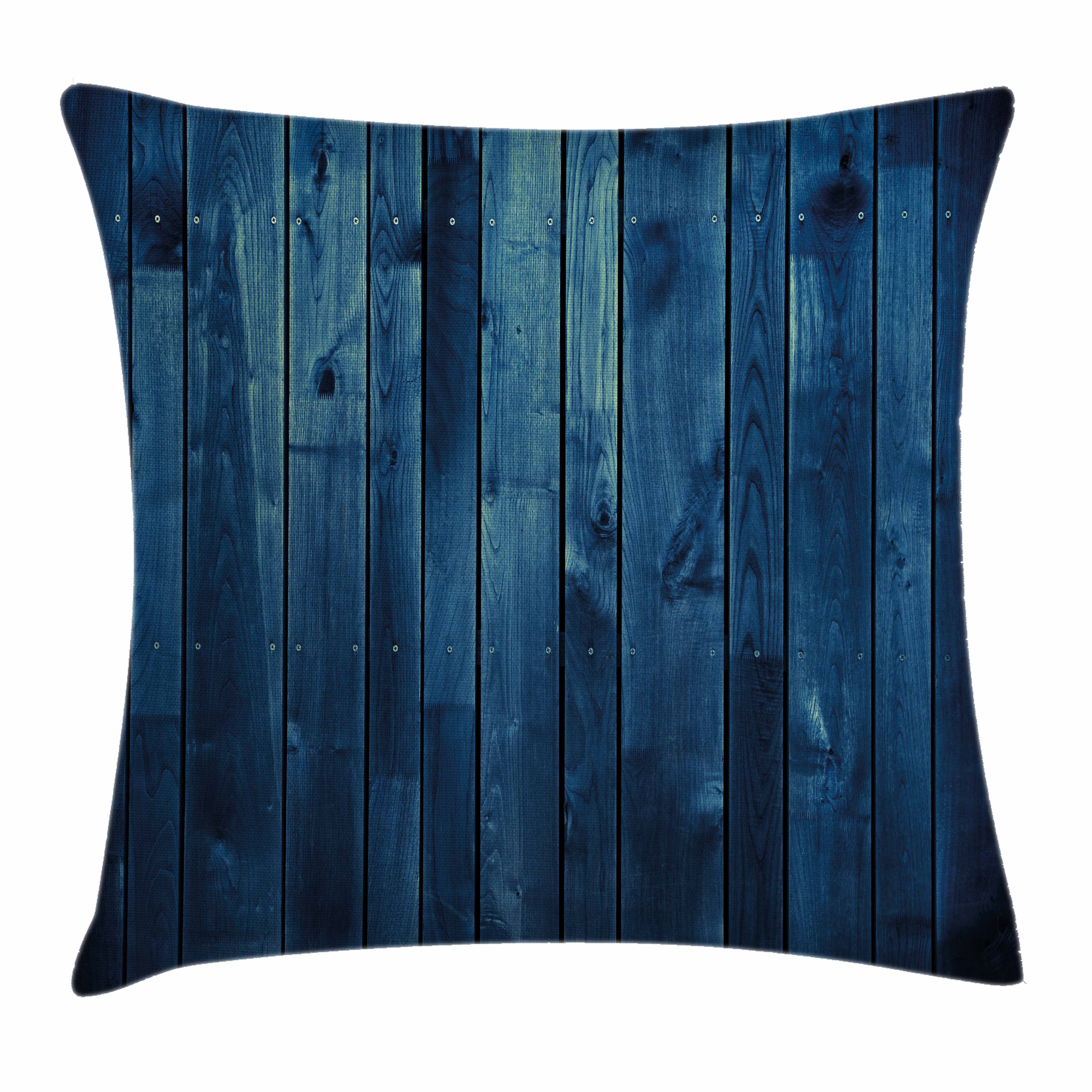 Dark Blue Throw Pillow Cushion Cover, Wooden Planks Texture Image Boards Floor Wall Lumber Rustic Home Decor, Decorative Square Accent Pillow Case, 18 X 18 Inches, Light Blue Dark Blue, by Ambesonne