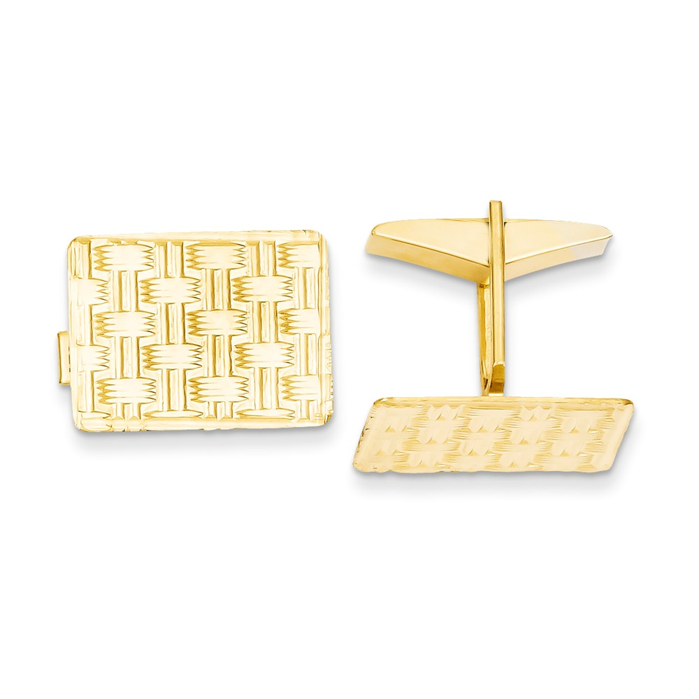 Gemaffair Men's 14K Yellow Gold Basket Weave Cuff Links