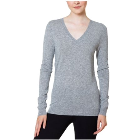Magaschoni Womens V-Neck Cashmere Sweater (Stone, Large)