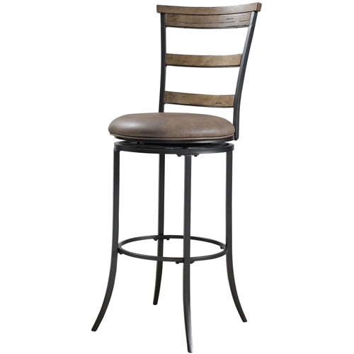 "Hillsdale Furniture Charleston 46"" Ladder Back Swivel Bar Stool, Desert Tan Finish"