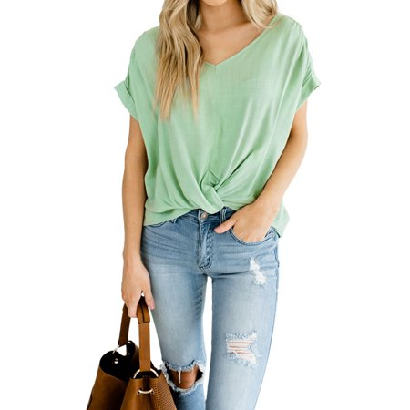 24a948308dc Sexy Dance - Women's Casual Shirts Short Sleeve T-shirt Loose Fit Pleated  Tunic Tops Solid Color Blouse Tops - Walmart.com