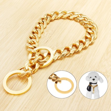 17mm Stainless Steel Gold Chain Dog Necklace Pet Collar Puppy Curb Link for Training Walking