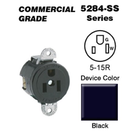 Leviton 5284-SS Single Receptacle Short Strap Commercial Grade 5-15R 15A 125V Side Wired - (Amp 125v Single Locking Receptacle)