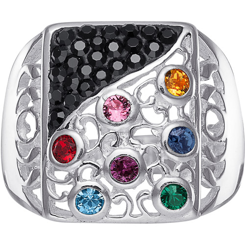 Personalized Women's Midnight Sonata Sterling Silver Family Birthstone Ring