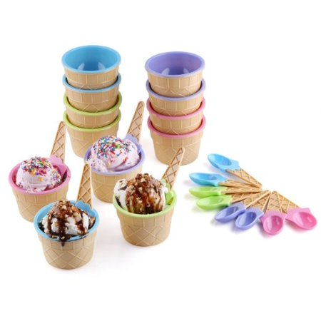 Greenco Vibrant Colors Ice Cream Dessert Bowls and Spoons (Set of -