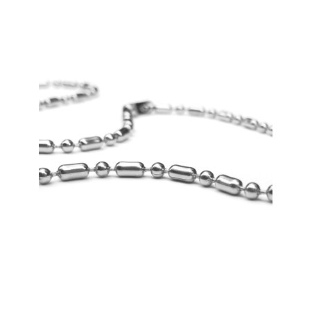 Silver Mens Stainless Steel Ball Cylinder Bead Chain (2mm) 18