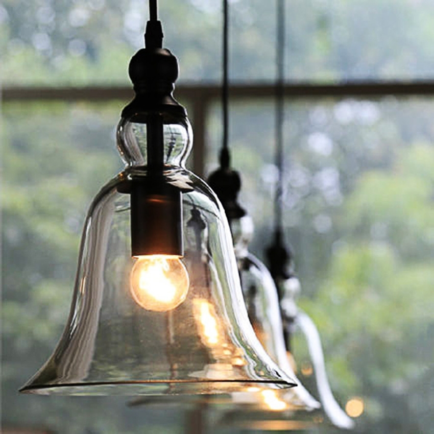 DIY Clear Glass Vintage Industrial Pendant Lamp Ceiling Light Fixture Chandelier EH7E SMT by