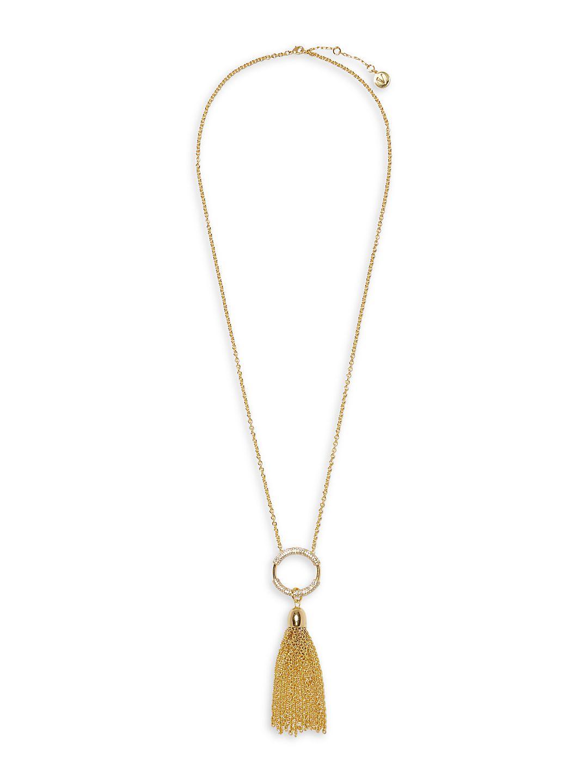 Crystal Pave Tassel Fringe Necklace