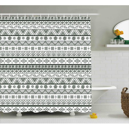 Tribal Shower Curtain Indian Aztec Pattern With Primitive Geometric Forms Triangles Background Design Fabric