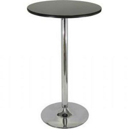 Pub Table - Black with Chrome MDF Top Iron Base Black Top Metal