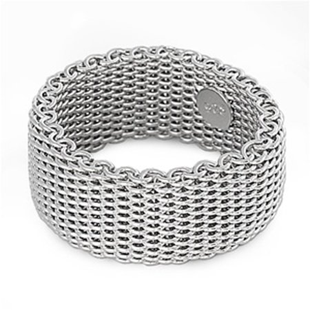 - Sterling Silver Women's Mesh Ring ( Sizes 5 6 7 8 9 10 ) Wholesale Pure 925 Wide Band 10mm Rings (Size 9)