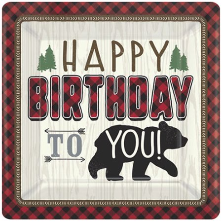 1st Birthday 'Little Lumberjack' Extra Large Paper Plates (8ct)