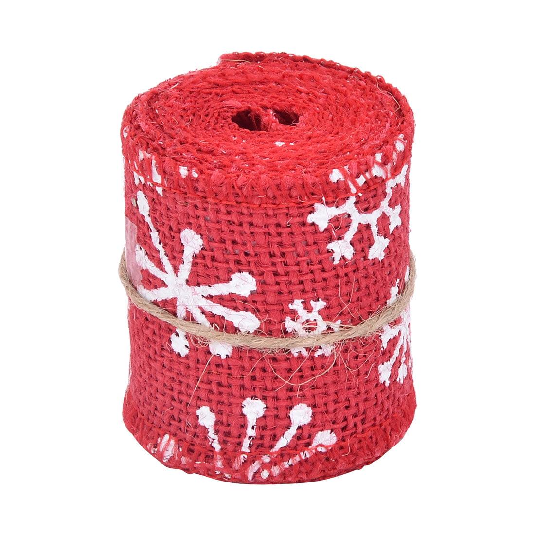 Unique Bargains Feast Burlap Snowflake Pattern Packaging Decorative Ribbon Roll Tape 3.3 Yards