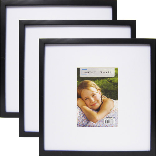 """Mainstays 13"""" x 13"""" Matted to 7"""" x 5"""" Linear Frame, Black, 3-Pack"""
