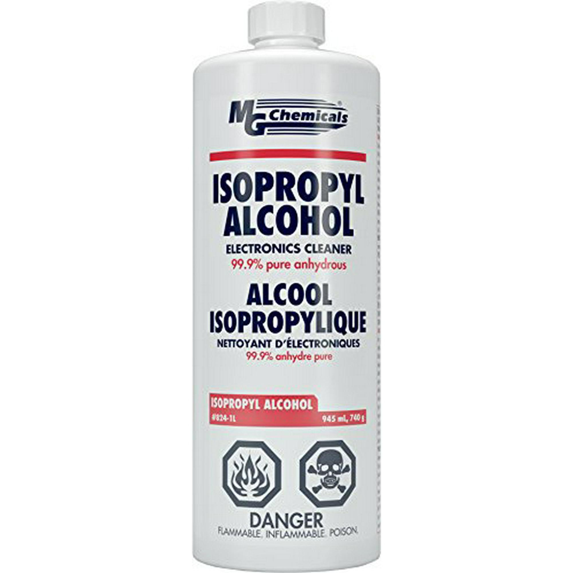 MG Chemicals 824-1L 99 9% Isopropyl Alcohol Liquid Cleaner, Clear , 945 mL  (1 US Quart)