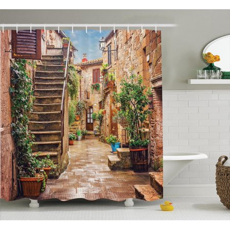 Tuscan Decor Shower Curtain Set  View Of An Old Mediterranean Street With Stone Rock Houses In Italian City Rural Culture Print  Bathroom Accessories  69W X 70L Inches  By Ambesonne